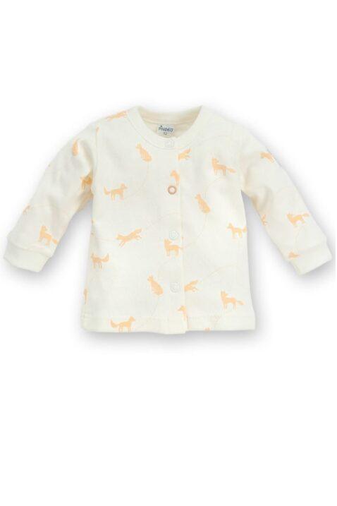 Weißer Baby Cardigan mit Fuchs Motive orange & Druckknöpfe für Jungen & Mädchen - Tier Babyjäckchen Pullover Sweatshirt Oberteil unisex von Pinokio - Vorderansicht