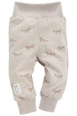 Pinokio beige Baby Leggings Sweathose mit Fuchs Motiven & Patch für Jungen & Mädchen – Schlupfhose & Schlafhose mit Bündchen Komfortbund unisex – Vorderansicht
