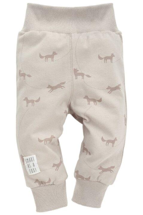 Beige Baby Leggings Sweathose mit Fuchs Motiven & Patch für Jungen & Mädchen - Schlupfhose & Schlafhose mit Bündchen Komfortbund unisex von Pinokio - Vorderansicht