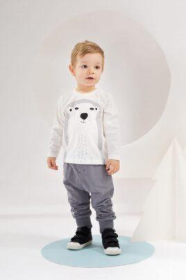Weißes Baby Langarmshirt mit Eisbär Motiv für Jungen - Langarm Tier Shirt, Baumwollshirt, Babyshirt von Pinokio - Babyphoto