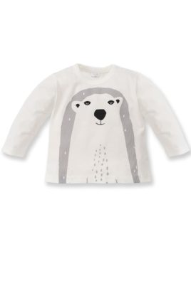 Pinokio weißes Baby Langarmshirt mit Eisbär Motiv für Jungen – Langarm Tier Shirt, Baumwollshirt, Babyshirt – Vorderansicht