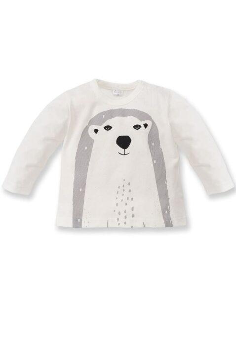 Weißes Baby Langarmshirt mit Eisbär Motiv für Jungen - Langarm Tier Shirt, Baumwollshirt, Babyshirt von Pinokio - Vorderansicht