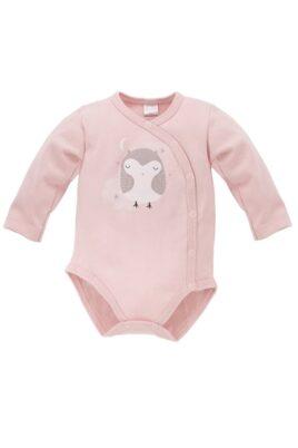 Pinokio rosa Baby Wickelbody langarm mit Eulen Motiv bei Nacht + Stramplerhose für Mädchen – Langarmbody Babybody Druckknöpfe – Vorderansicht