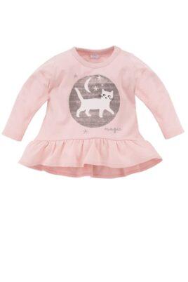 Pinokio rosa Baby Langarmshirt in Kleidchenoptik mit Katzen Motiv für Mädchen – Langarm Oberteil Baumwollshirt mit Druckknöpfe – Vorderseite