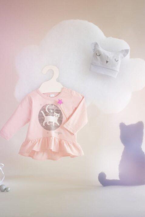 Rosa Baby Langarmshirt in Kleidchenoptik mit Katzen Motiv für Mädchen - Langarm Oberteil Baumwollshirt von Pinokio - Inspiration Lookbook