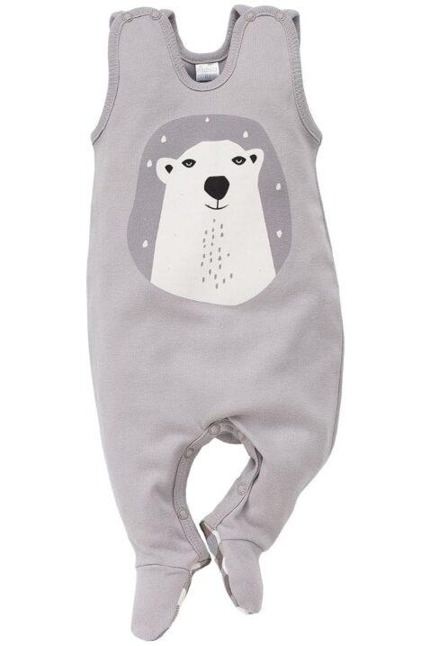 Grauer Baby Strampler mit Fuß & Eisbär Motiv für Jungen - Strampelanzug & Tier Babystrampler von Pinokio - Vorderansicht