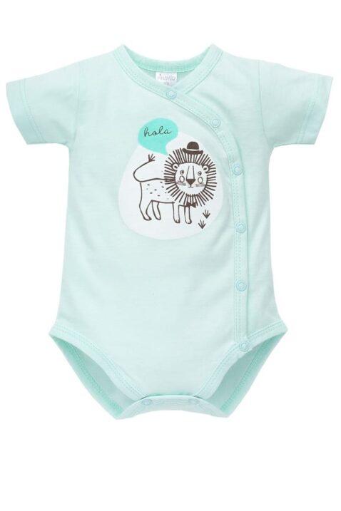 Türkis grüner Baby Wickelbody kurzarm mit Löwen Motiv & hola Schriftzug für Jungen - Kurzarm Wickelbody & Kurzarmbody Baumwoll Babybody von Pinokio - Vorderansicht