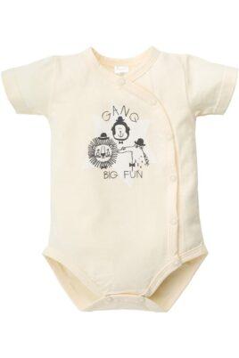 Pinokio gelber Baby Wickelbody kurzarm mit Tier-Motiven Löwe, Affe, Krokodil für Jungen – Kurzarm Wickelbody & Kurzarmbody Bamwoll Babybody – Vorderansicht