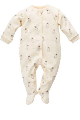 Pinokio gelber Baby Schlafoverall mit Füßen & Ananas Motiven für Jungen & Mädchen – Schlafanzug & Strampelanzug Overall einteilig – Vorderansicht