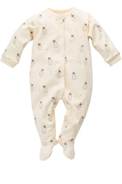 Gelber Baby Schlafoverall mit Füßen & Ananas Motiven für Jungen & Mädchen - Schlafanzug & Strampelanzug Overall einteilig von Pinokio - Vorderansicht