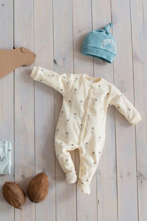 Set gelber Baby Schlafoverall mit Füßen & Ananas Motiven, Mütze türkis für Jungen & Mädchen - Schlafanzug & Strampelanzug Overall einteilig von Pinokio - Inspiration Lookbook