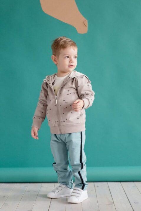 Beige Baby Kapuzen-Sweatjacke mit Dreiecke & Zacken Muster & Reißverschluss für Jungen - Baby Pullover Sweatshirt Oberteil von Pinokio - Babyphoto