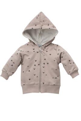 Pinokio beige Baby Kapuzen-Sweatjacke mit Dreiecke & Zacken Muster & Reißverschluss für Jungen – Baby Pullover Sweatshirt Oberteil – Vorderansicht