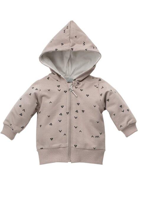 Beige Baby Kapuzen-Sweatjacke mit Dreiecke & Zacken Muster & Reißverschluss für Jungen - Baby Pullover Sweatshirt Oberteil von Pinokio - Vorderansicht