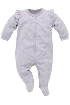 Grauer Baby Schlafoverall mit Füßen, Rüschen & Sterne Motive für Mädchen - Schlafanzug & Strampelanzug Overall einteilig von Pinokio - Vorderansicht