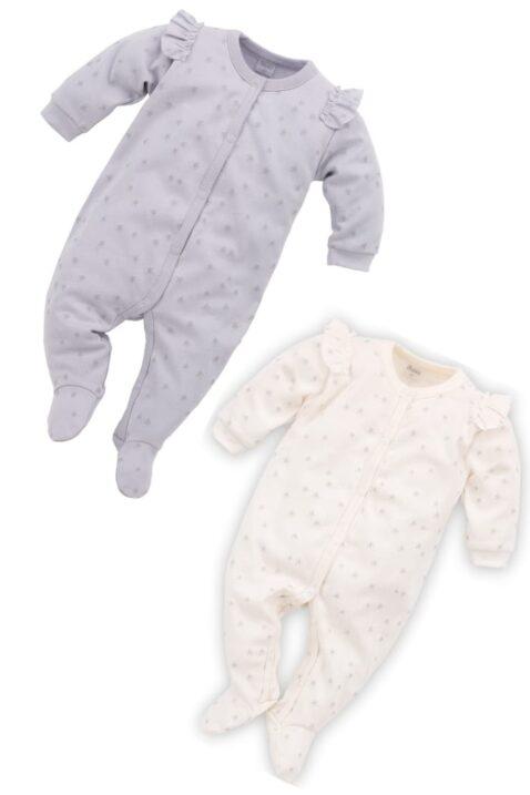 Set grauer & weißer Baby Schlafoverall mit Füßen, Rüschen & Sterne Motive für Mädchen - Schlafanzug & Strampelanzug Overall einteilig von Pinokio - Vorderansicht Inspiration