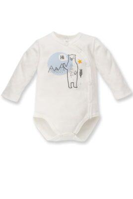 Pinokio ecru weißer Baby Wickelbody mit Eisbär Motiv & Eisberg Landschaft für Jungen – Tier Babybody & Langarmbody – Vorderansicht