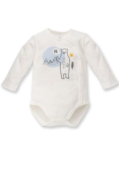 Ecru weißer Baby Wickelbody mit Eisbär Motiv & Eisberg Landschaft für Jungen - Tier Babybody & Langarmbody von Pinokio - Vorderansicht