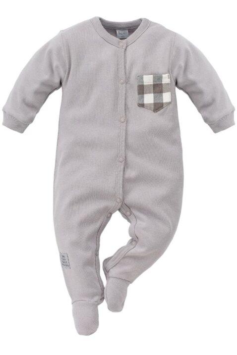 Grauer Baby Schlafoverall mit Füßen, Karo Brusttasche & Patch für Jungen - Schlafanzug einteilig & Strampelanzug Overall von Pinokio - Vorderansicht