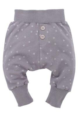 Pinokio graue Baby Pumphose Sweatpants mit Sterne & Knöpfe für Mädchen – Haremshose & Schlupfhose mit Komfortbund Babyhose – Vorderansicht