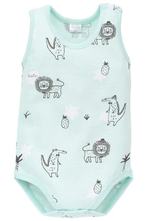 Mint grüner Baby Body ohne Arm mit Löwen, Krokodile, Ananas, Palmen für Jungen & Mädchen - Ärmelloser Baby Body ohne Ärmel von Pinokio - Vorderansicht