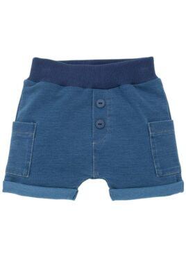 Pinokio blaue Baby kurze Shorts im Jeans Denim Look mit Beinumschlag & Taschen für Jungen & Mädchen – Kurze Babyhose Sweatjeans Jeans unisex – Vorderansicht