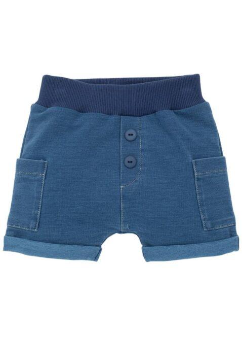 Blaue Baby kurze Shorts im Jeans Denim Look mit Beinumschlag & Taschen für Jungen & Mädchen - Kurze Babyhose Sweatjeans Jeans unisex von Pinokio - Vorderansicht