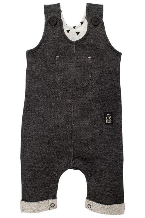 Schwarze Baby Latzhose strukturiert im Jeans Denim Look mit Beinumschlag, Brusttasche, Patch für Jungen & Mädchen - Lange Jeans Sweatjeans Overall von Pinokio - Vorderansicht