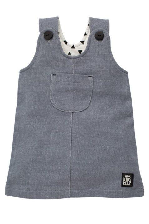 Süßes graues Baby Mädchen Latzkleid & Sweatkleid ärmellos mit Patch, Brusttasche & Knöpfe im strukturierten Design - Babykleid & Baumwollkleid von Pinokio - Vorderansicht