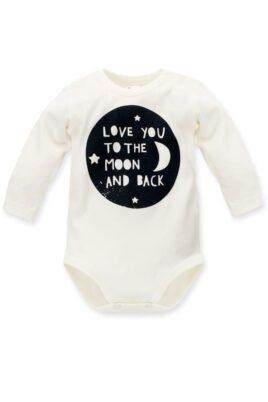 Pinokio ecru weißer Baby Body langarm mit Motto Schriftzug Love you to the moon and back- Jungen & Mädchen Langarmbody Babybody – Vorderansicht