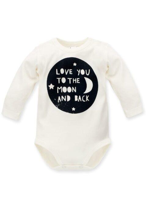 Ecru weißer Baby Body langarm mit Motto Schriftzug Love you to the moon and back- Jungen & Mädchen Langarmbody Babybody von Pinokio - Vorderansicht