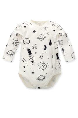 Pinokio ecru weißer Baby Wickelbody mit Weltall Motiven Planeten, Sterne, Mond, Raketen für Jungen & Mädchen – Weltraum Babybody & Langarmbody – Vorderansicht