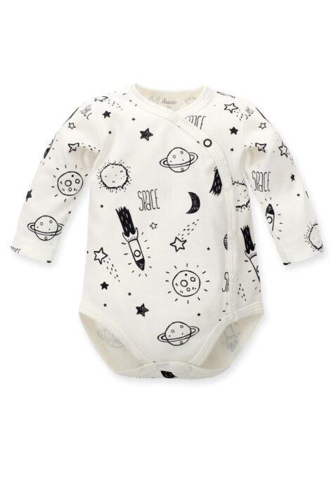 Ecru weißer Baby Wickelbody mit Weltall Motiven Planeten, Sterne, Mond, Raketen für Jungen & Mädchen - Weltraum Babybody & Langarmbody von Pinokio - Vorderansicht