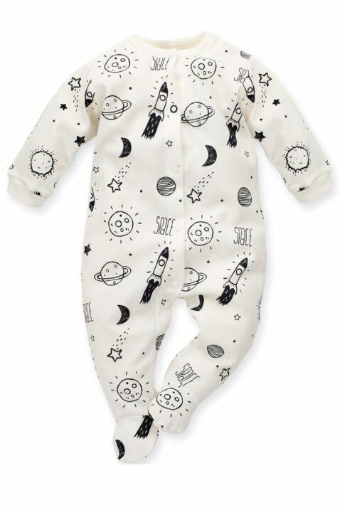 Ecru weißer Baby Schlafoverall mit Füßen & Weltall Motiven Planeten, Sterne, Mond, Raketen Jungen & Mädchen - Schlafanzug & Strampelanzug Overall einteilig von Pinokio - Vorderansicht