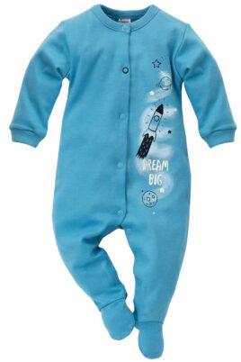 Pinokio blauer Baby Schlafoverall mit Füßen & Weltall Motiven Rakete, Planeten, Sterne, Mond für Jungen & Mädchen – Einteiliger Schlafanzug & Strampelanzug Overall – Vorderansicht
