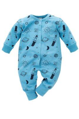 Pinokio blauer Baby Pyjama Schlafoverall ohne Füße & Kosmos Weltall Motiven Rakete, Planeten, Sterne, Mond für Jungen & Mädchen – Einteiliger Schlafanzug & Baby Overall – Vorderansicht