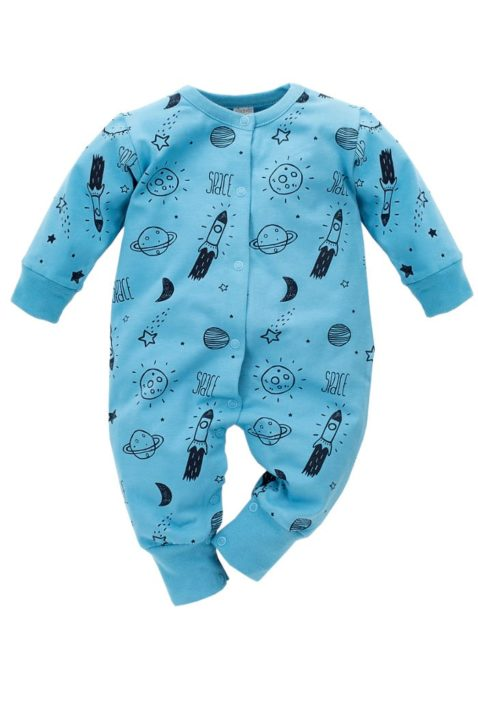 Blauer Baby Pyjama Schlafoverall ohne Füße & Kosmos Weltall Motiven Rakete, Planeten, Sterne, Mond für Jungen & Mädchen - Einteiliger Schlafanzug & Baby Overall von Pinokio - Vorderansicht