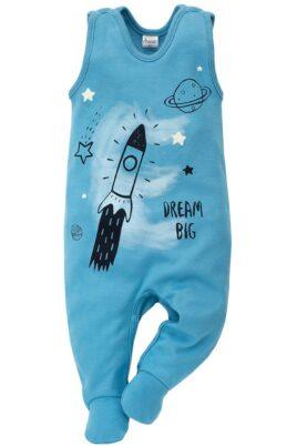 Pinokio blauer Baby Strampler mit Fuß & Universum Motiven Rakete, Saturn, Planeten, Sterne, Mond für Jungen – Strampelanzug & Babystrampler Weltraum – Vorderansicht