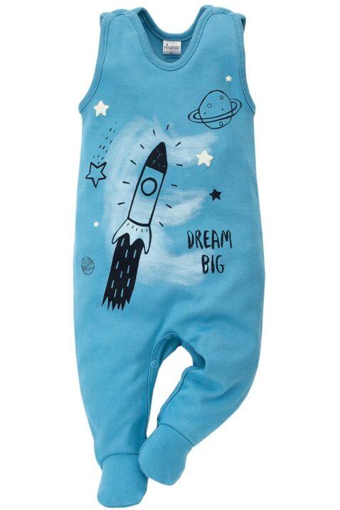 Blauer Baby Strampler mit Fuß & Kosmos Universum Motiven Rakete, Saturn, Planeten, Sterne, Mond für Jungen - Strampelanzug & Babystrampler Weltraum von Pinokio - Vorderansicht