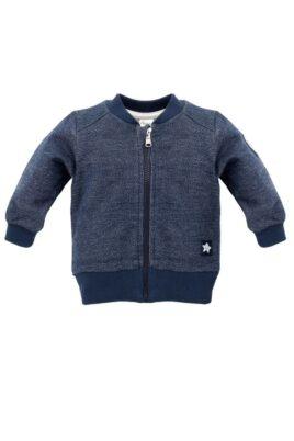 Pinokio navy blaue Baby Sweatjacke strukturiert mit Patch Weltall Motiven Rakete, Planeten, Sterne, Mond für Jungen – Reißverschluss Pullover Sweatshirt Oberteil – Vorderansicht