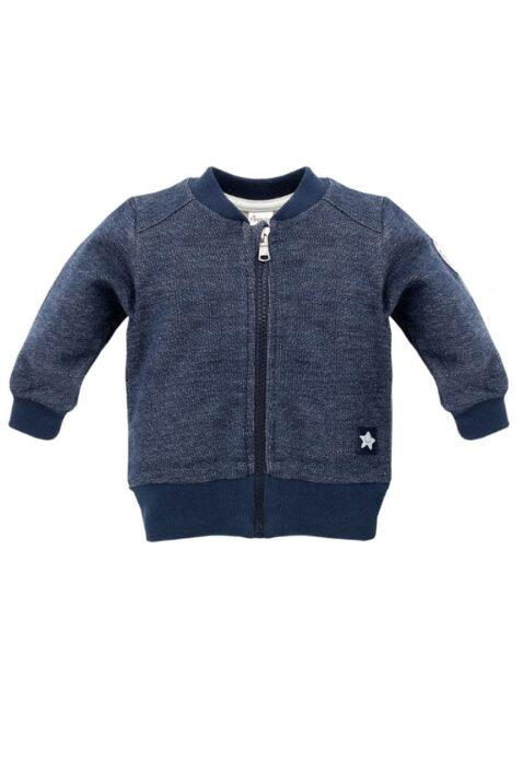 Navy blaue Baby Sweatjacke strukturiert mit Patch Weltall Motiven Rakete, Planeten, Sterne, Mond für Jungen - Reißverschluss Pullover Sweatshirt Oberteil von Pinokio - Vorderansicht
