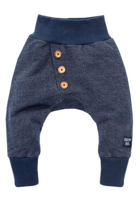 Marineblaue Baby Pumphose Sweatpants im strukturierten Design mit Patch & asymmetrischen Knöpfen für Jungen & Mädchen - Haremshose & Schlupfhose Babyhose von Pinokio - Vorderansicht