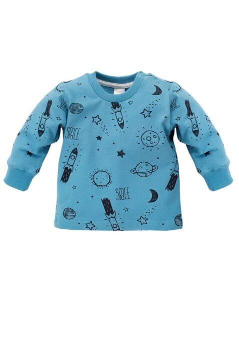 Blaues Baby Langarmshirt Sweatshirt mit Weltall Motiven Rakete, Mond, Planeten, Sterne - Jungen Rundhals Pullover langarm Oberteil mit Bündchen von Pinokio - Vorderansicht