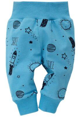Pinokio blaue Baby Leggings Sweathose mit Weltraum Motive Rakete, Mond, Planeten, Sterne für Jungen – Weltall Schlupfhose & Schlafhose mit Bündchen Komfortbund – Vorderansicht