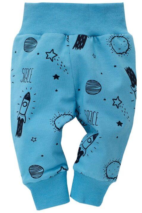Blaue Baby Leggings Sweathose mit Weltraum Motive Rakete, Mond, Planeten, Sterne für Jungen - Weltall Schlupfhose & Schlafhose mit Bündchen Komfortbund von Pinokio - Vorderansicht