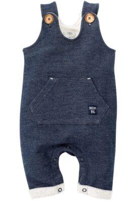 Pinokio dunkelblaue Baby Latzhose strukturiert mit Tasche im Blue Jeans Denim Look mit Beinumschlag, Patch für Jungen & Mädchen – Lange Sweatjeans Overall unisex – Vorderansicht