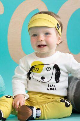 Ecru weisser Baby Body langarm mit Motiv Hunde mit hängenden Ohren & Schriftzug Stay Cool für Jungen & Mädchen - Tier Langarmbody & Babybody von Pinokio - Vorderansicht