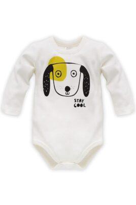 Pinokio ecru weisser Baby Body langarm mit Motiv Hunde mit hängenden Ohren & Schriftzug Stay Cool für Jungen & Mädchen – Tier Langarmbody & Babybody – Vorderansicht