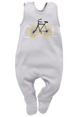 Pinokio hellgrauer Baby Strampler mit Fuß & Fahrrad Motiv für Jungen & Mädchen – Strampelanzug & Baumwoll Babystrampler unisex – Vorderansicht