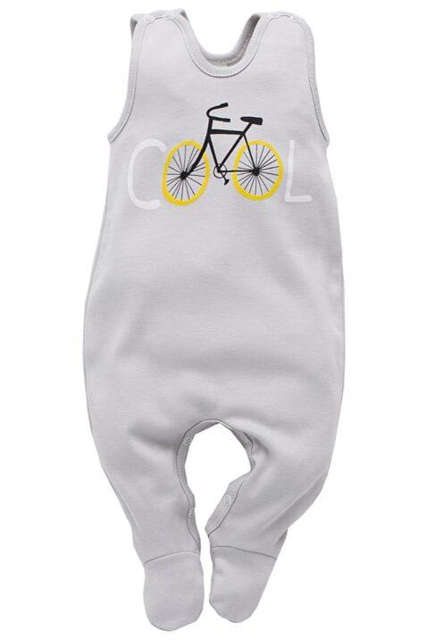 Hellgrauer Baby Strampler mit Fuß & Fahrrad Motiv für Jungen & Mädchen - Strampelanzug & Baumwoll Babystrampler unisex von Pinokio - Vorderansicht